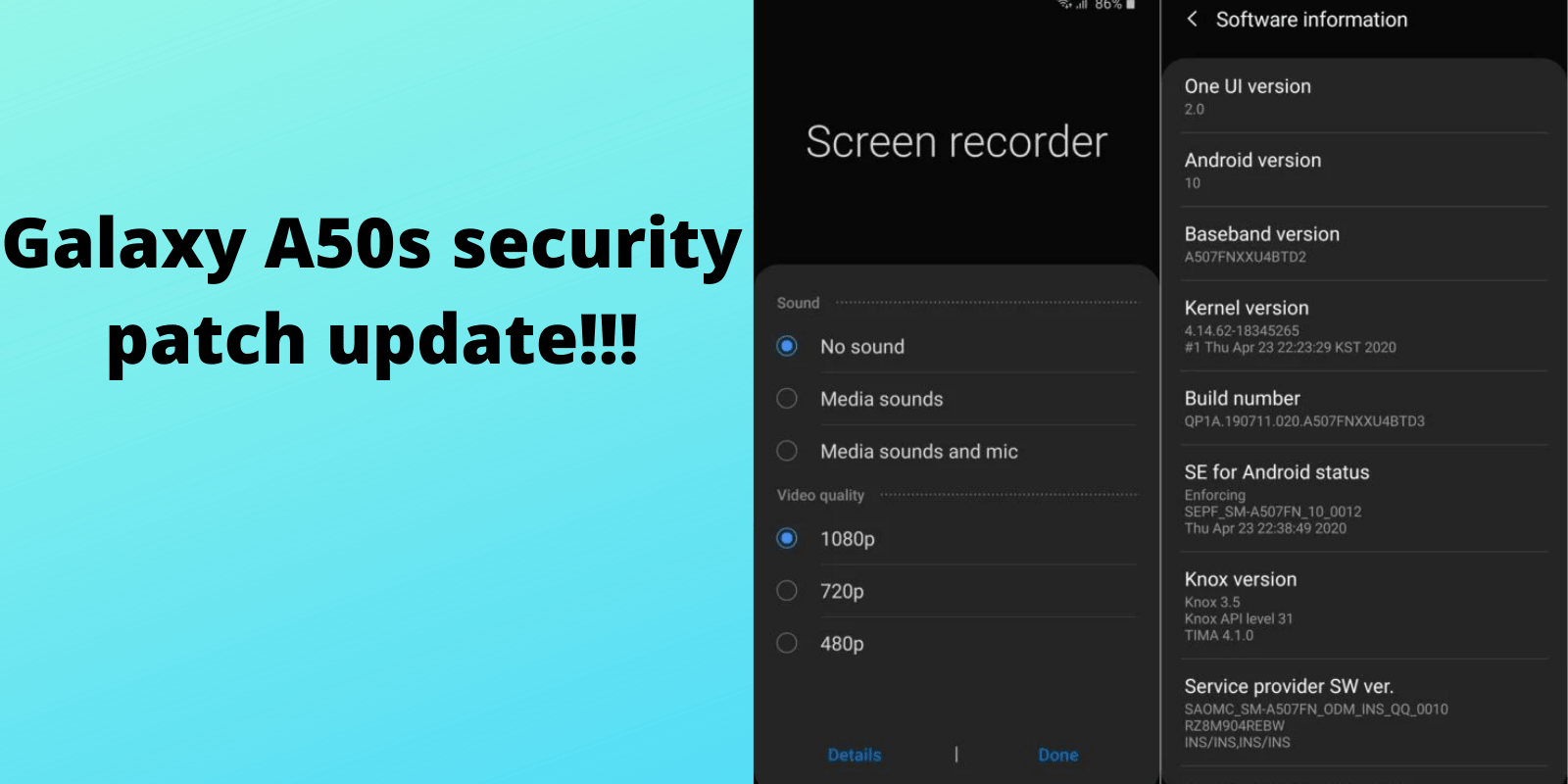 Galaxy A50s security patch update